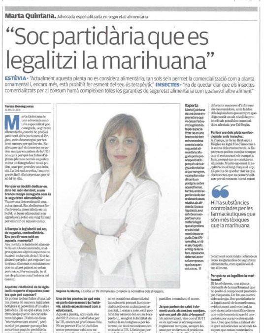 Entrevista en el periódico EL PUNT: Stevia, insectos y cáñamo.